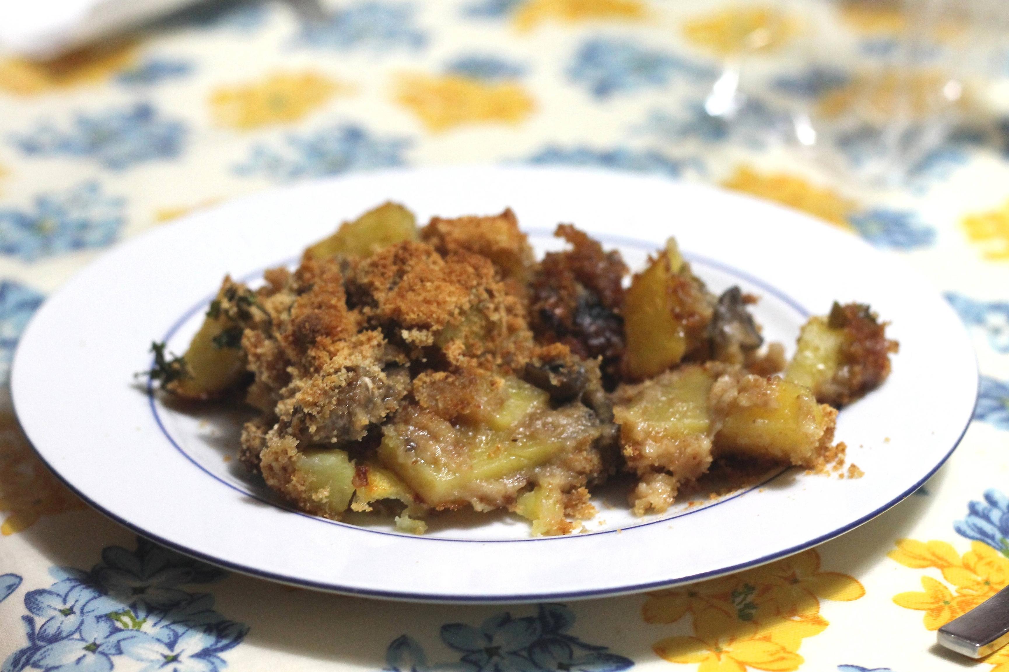 Funghi e patate al gratin