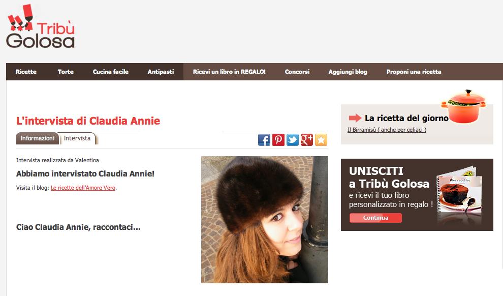 Claudia Annie intervistata da Tribù Golosa