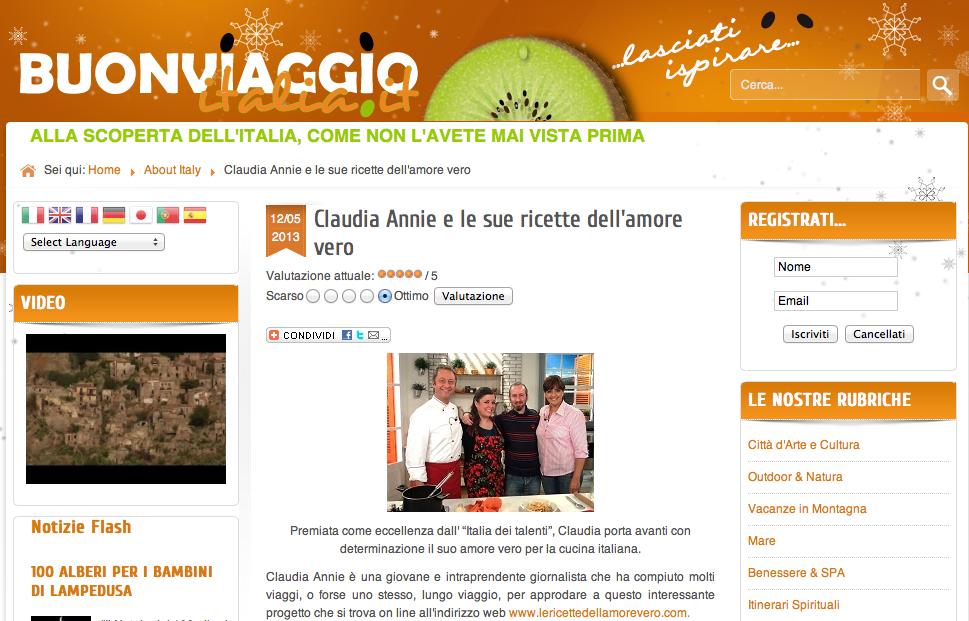 Claudia Annie intervistata su Buon Viaggio Italia