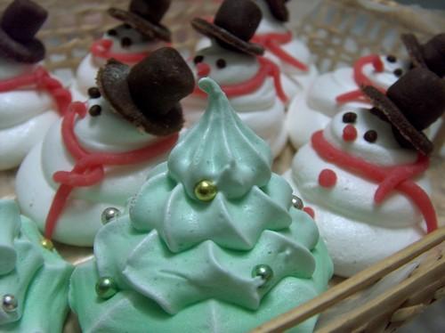 Pupazzi di Neve e Alberelli di Natale di meringa