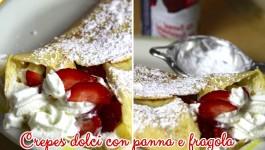 Crepes dolci con panna e fragola