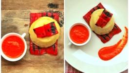 Tortino di polenta con crema di peperoni grigliati e finocchietto selvatico