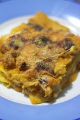 Lasagne al forno con crema zucca e polpettine
