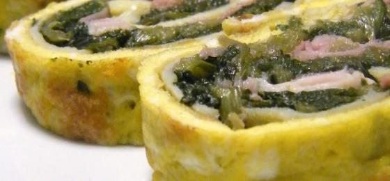 Girelle di Crepes ripiene di cotto e spinaci