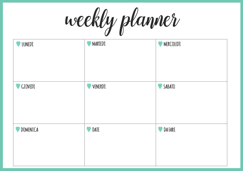Famoso SETTIMANALE STAMPABILE | Weekly Planner Printable MI99