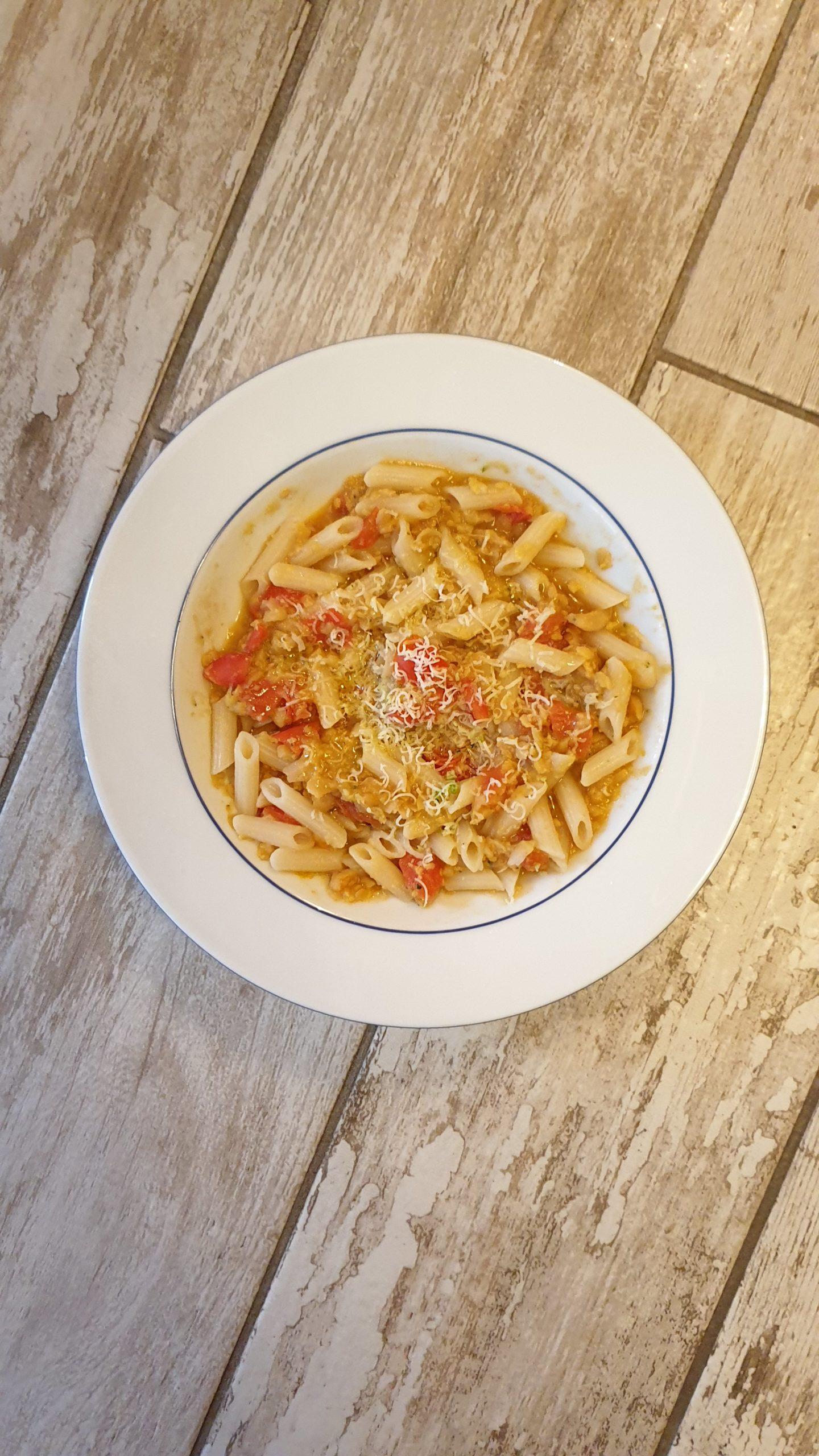 Pennette con crema di ceci, zucchina e pomodorini | pappa dei piccoli